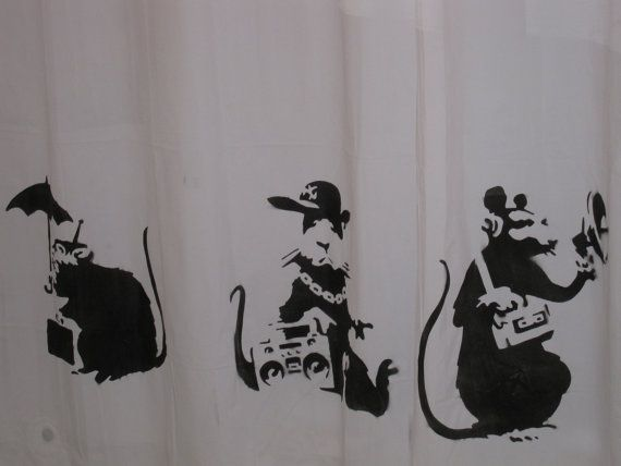 1 Banksy Famous Rats Shower Curtain All Together By IconHouse 4400