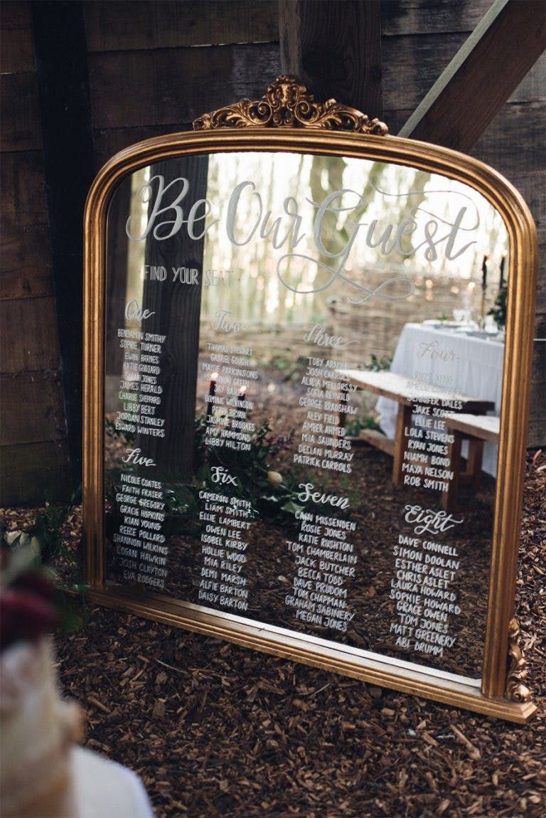 Be Our Guest Beauty And The Beast Style Antique Gold Mirror With Hand Written Calligraphy Table Plan By Sophie Carefull Photography Wedding Sign: Wedding Invitation Antique Mirror At Reisefeber.org