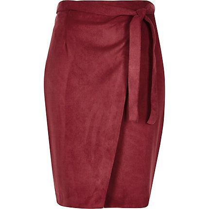 Dark red faux suede wrap skirt £35.00