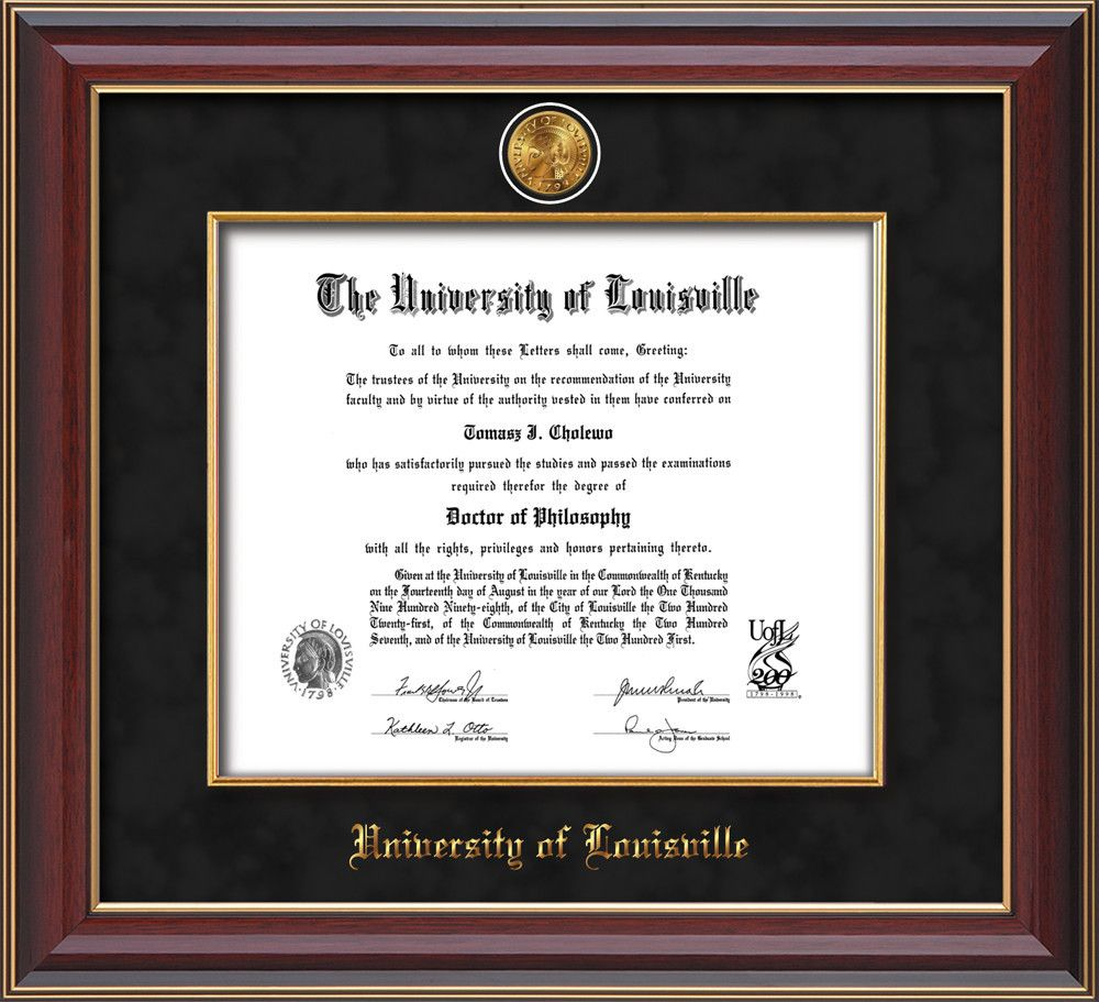U. Louisville Diploma Frame-Che Lacquer- w/UofL Medallion-Fillet ...