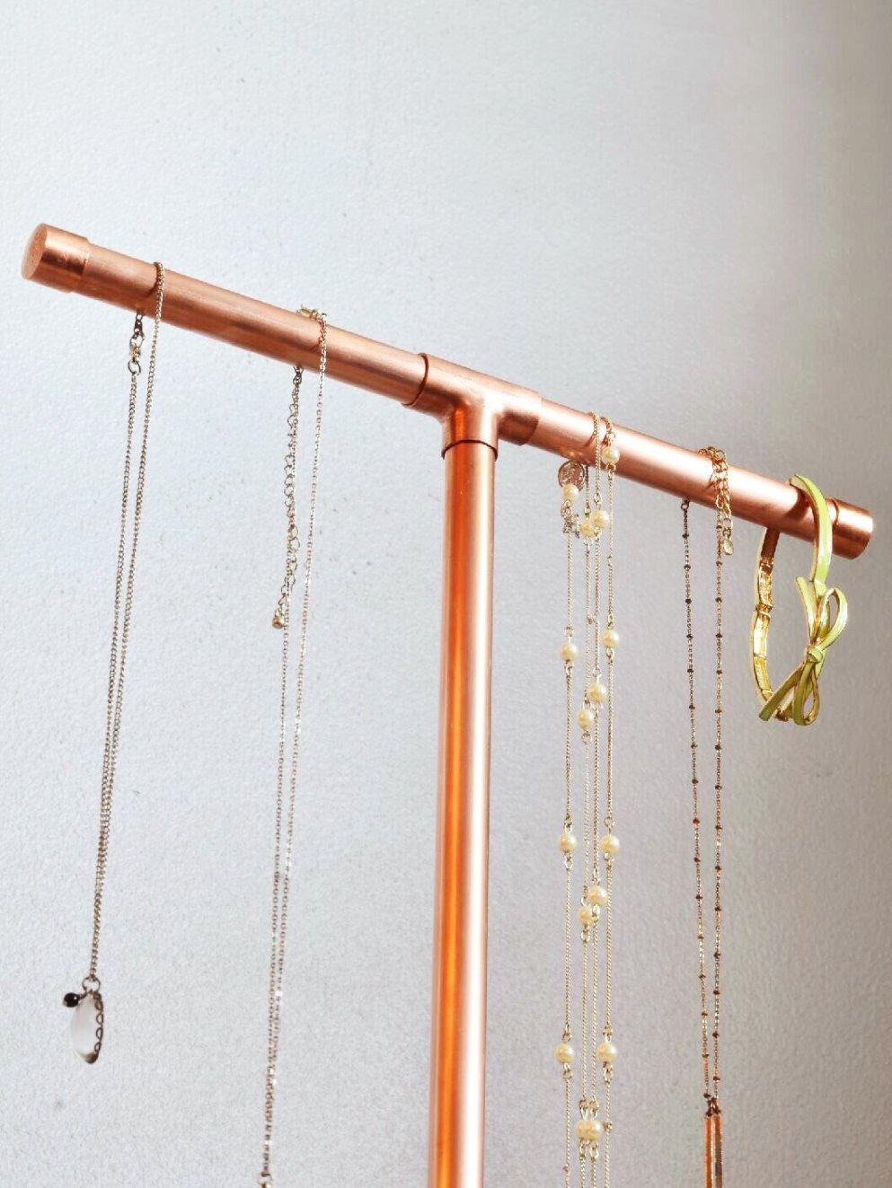 Copper Jewelry Display (3 Sizes) - Jewelry Stand - Jewelry Organizer by DIYobsessedStore on Etsy https://www.etsy.com/uk/listing/293838753/copper-jewelry-display-3-sizes-jewelry