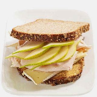 Pear, turkey, and Brie Utterly delicious Served on wheat bread with Dijon