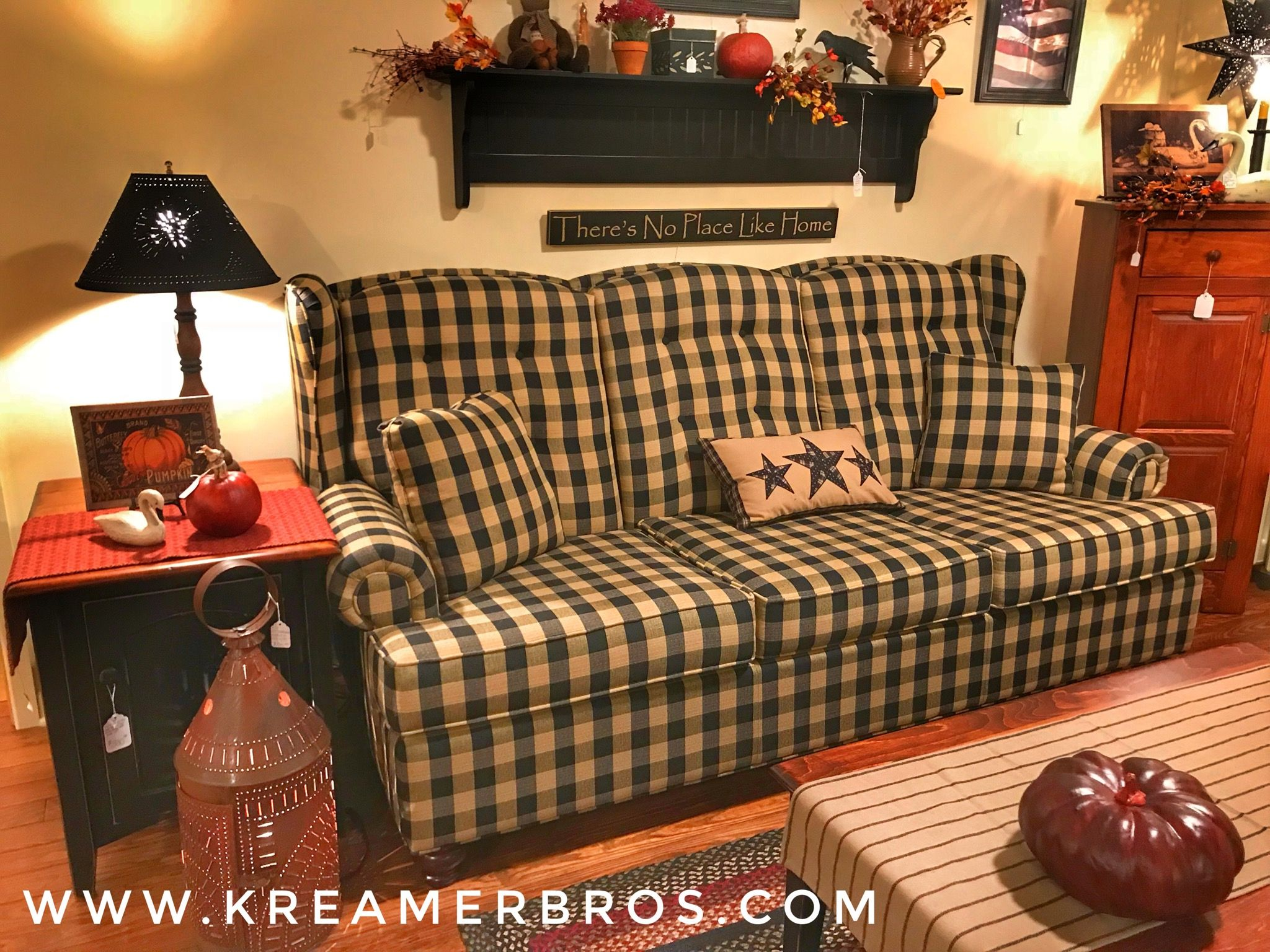 Buffalo Check Country Primitive Style Sofa With A Wing Back Style