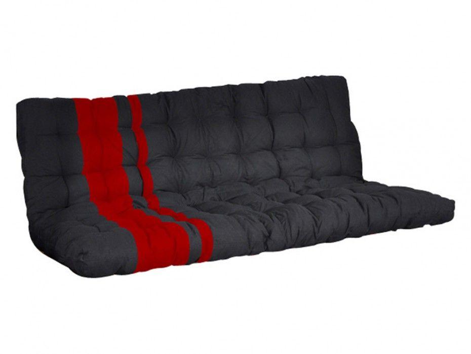 Futón MODULO - Colchón para sofá cama - 135x190 cm - Negro y rojo ...