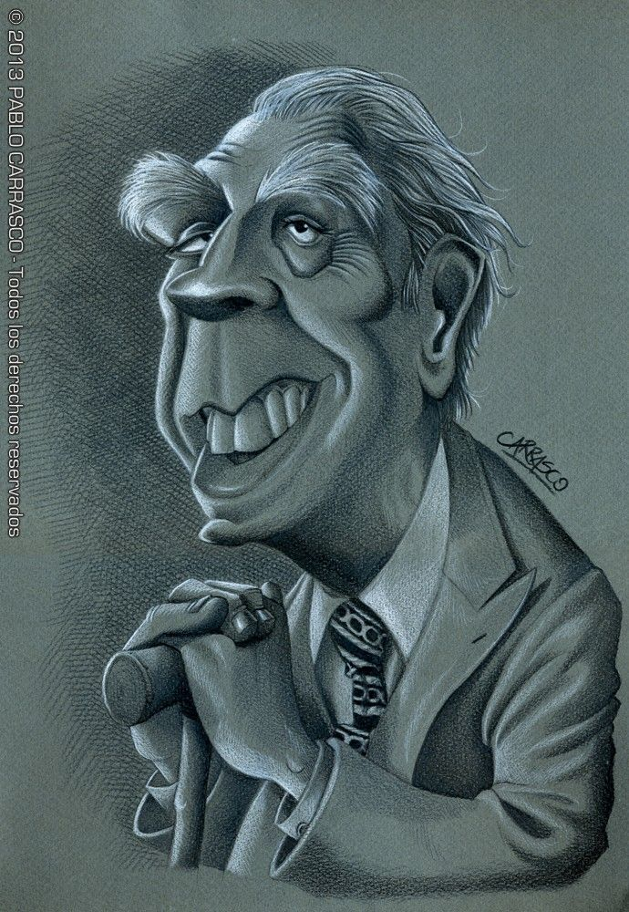 Caricaturas Argentinas Jorge Luis Borges Por Pablo Carrasco Caricaturas Produccion Artistica Jorge Luis Borges