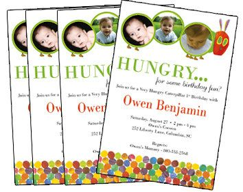 Hungry Caterpillar birthday invite Es 1st birthday Pinterest