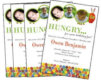 Hungry Caterpillar birthday invite Es 1st birthday Pinterest