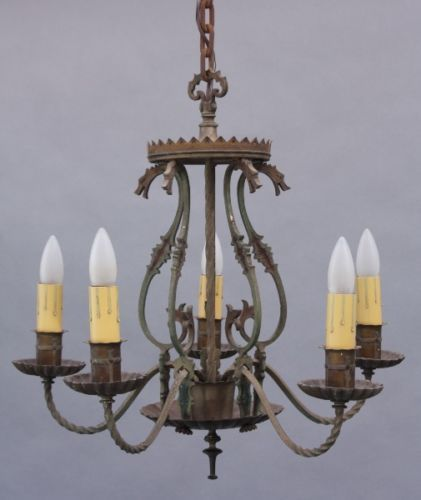 Spanish revival 5 light antique chandelier w dragon motif vintage