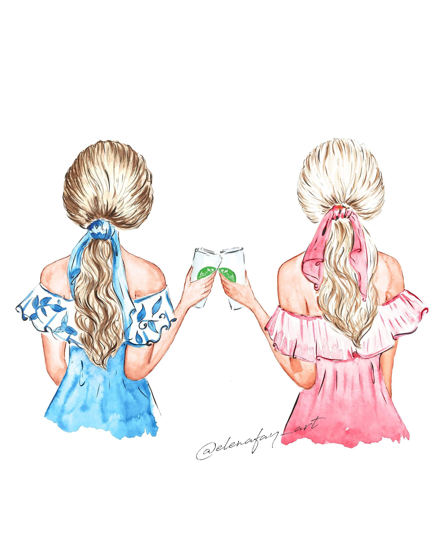 Coffee Besties Best Friends Illustration Coffee Buddies Etsy Friends Illustration Best Friend Drawings Best Friend Sketches