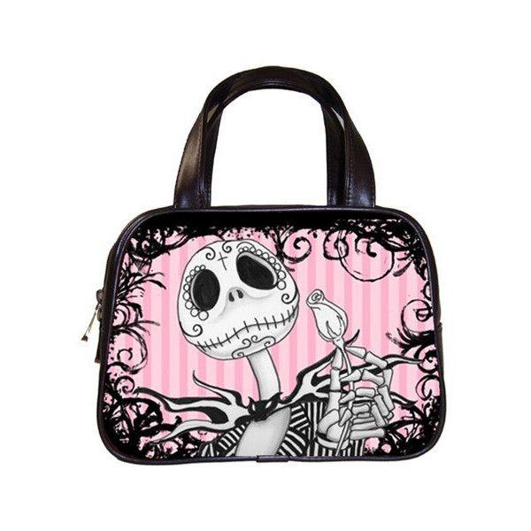 Jack Skellington Sugar Skull Hand Bag 36 Liked On Polyvore Featuring Bags Handbags Purses Genuine Leather Handbag Purse