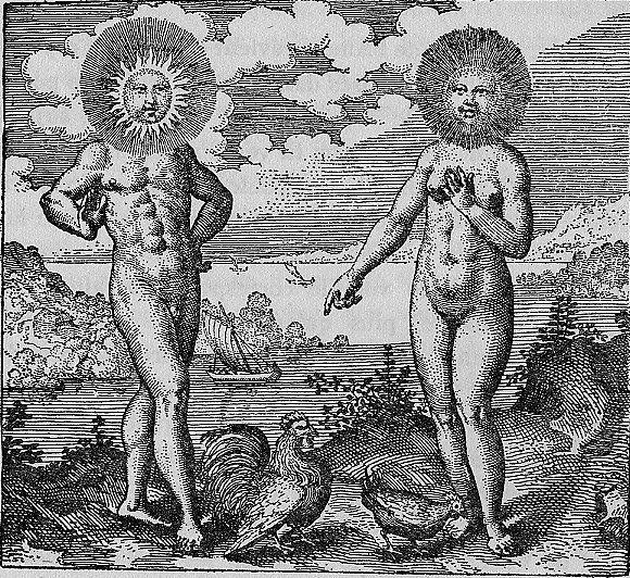 Sol indiget lunâ, ut gallus gallinâ. ( Le soleil a besoin de la lune comme le coq de la poule.) Atalanta Fugiens- Michael Maier 1617