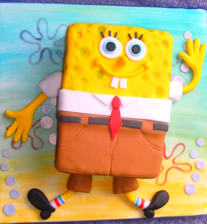 SpongeBob on painted background.
