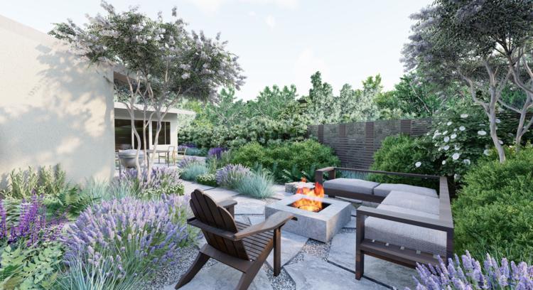 10 Favorite Yardzen Yards Scented Low Water Plants Like Lavender And Sage Online Landscape Design Landscaping Costs California Backyard
