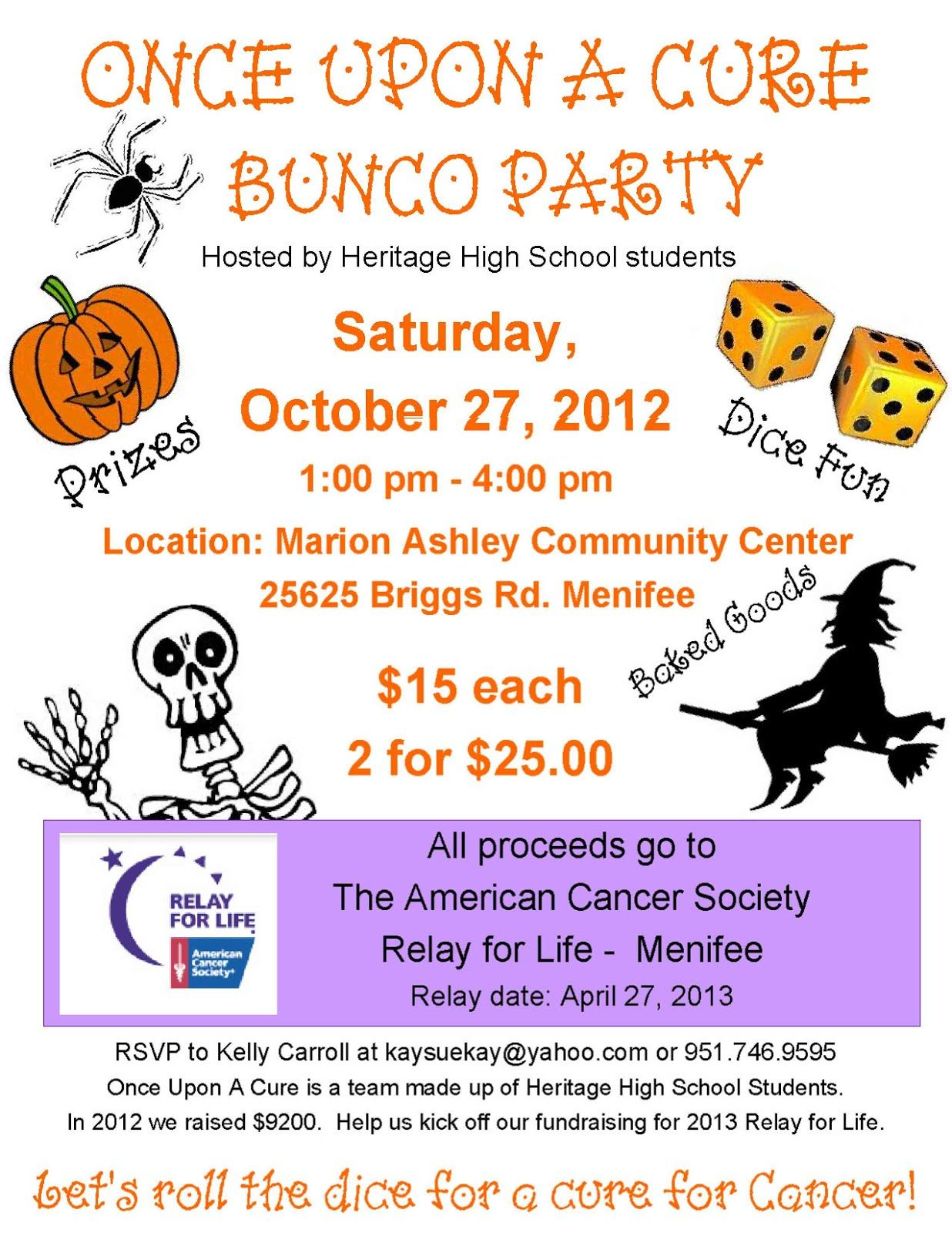 Pin by Becky Syring Hull on Relay For Life | Pinterest | Bunco party ...