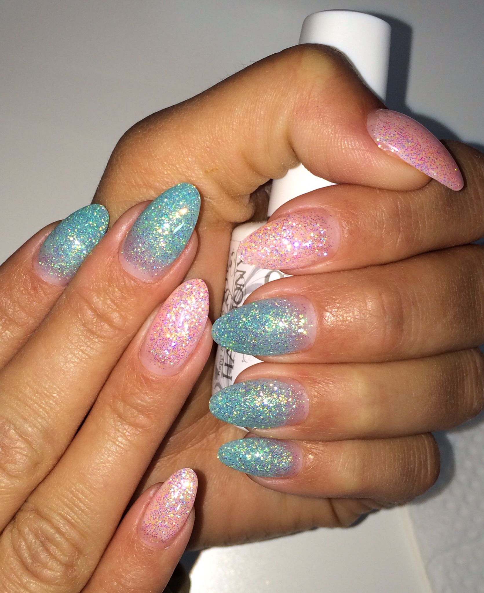 Almond nails/ Spring color glitter nails/ Pink smoothie and sea foam ...