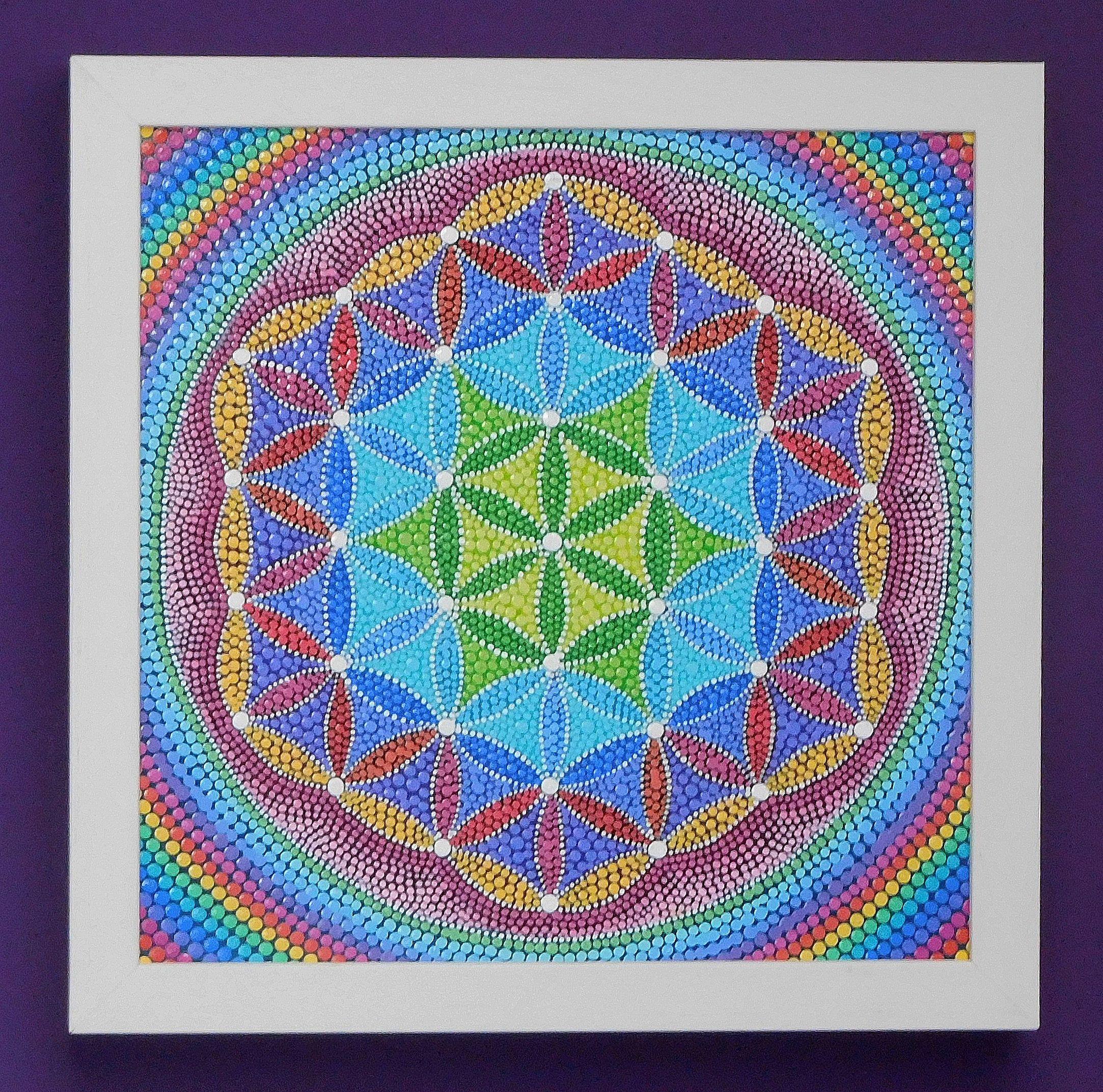 Flower of Life  - Dot Mandala Painting -  Dotillism - 27.5cm x 27.5cm - depth 3.4cm - Off-White wooden frame - painting by Katharine Moore by StripeyCatsStudio on Etsy