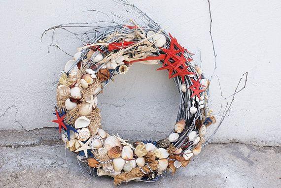 seashell wreath, nautical wreath, nautical decoration, home decor, sea decor…