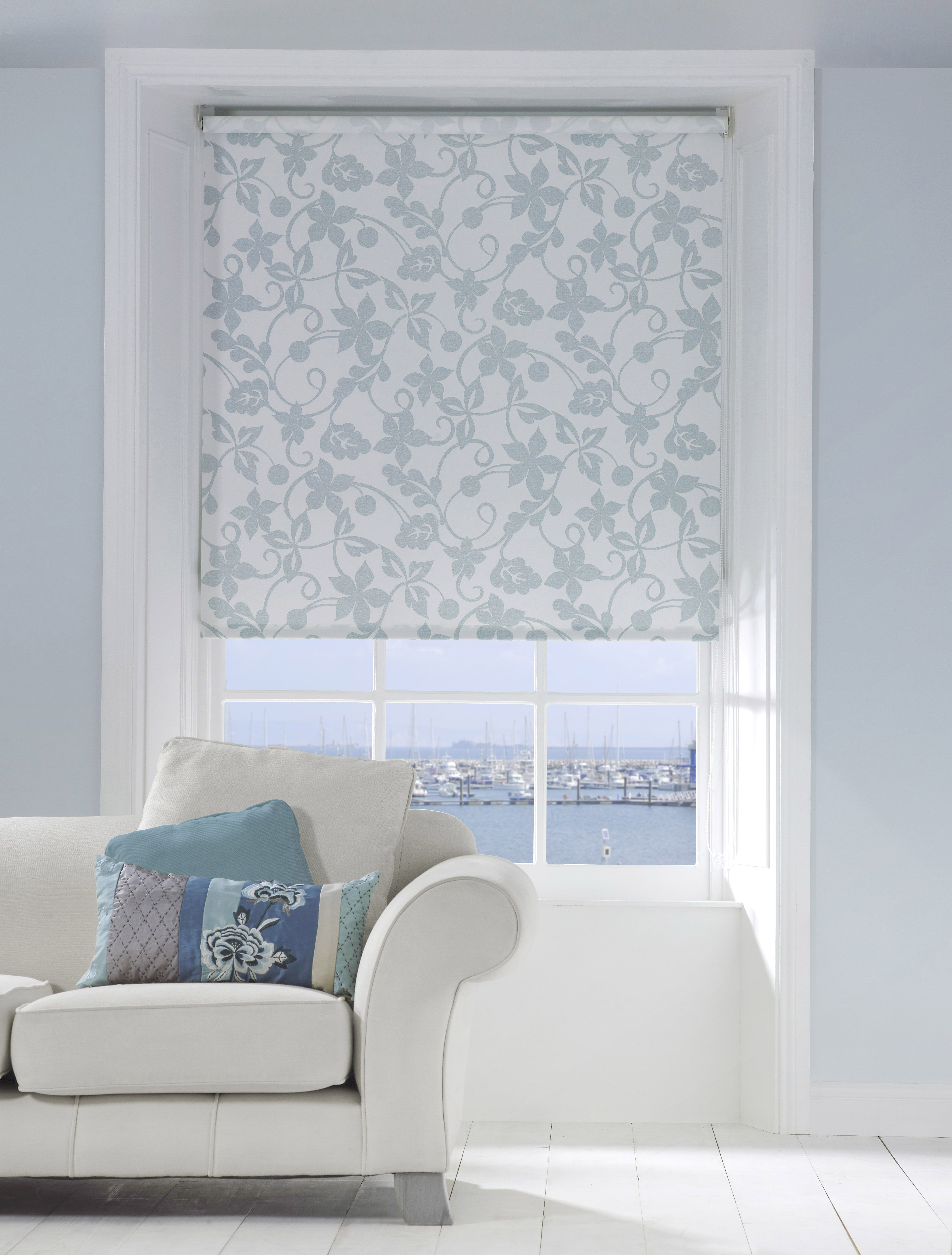 Apollo blue and white floral roller blind. Spring home decor ...