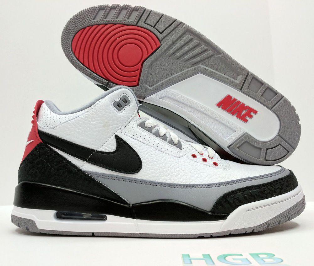 e386dba75b0a eBay  Sponsored Nike Air Jordan Retro III 3 TINKER NRG Mens Fire Red Cement  Grey