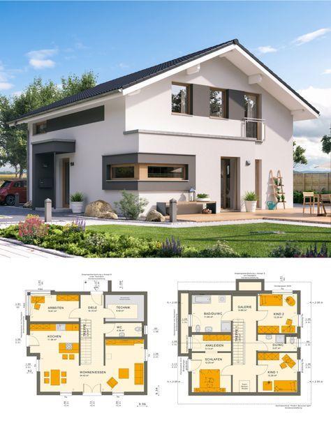 Modernes satteldach haus mit galerie einfamilienhaus for Modernes einfamilienhaus grundriss
