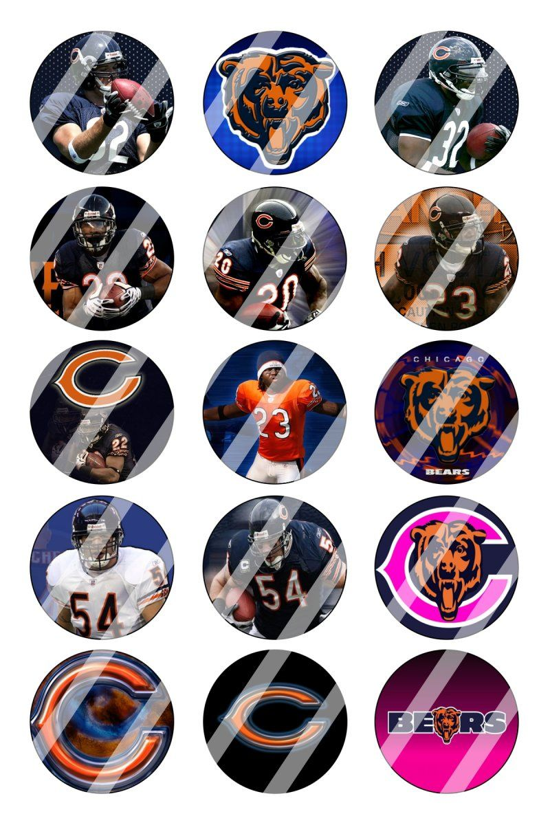 """Chicago Bears Bottle Cap 1"""" Circle Images Sheet #2 (instant download or pre cut)"""