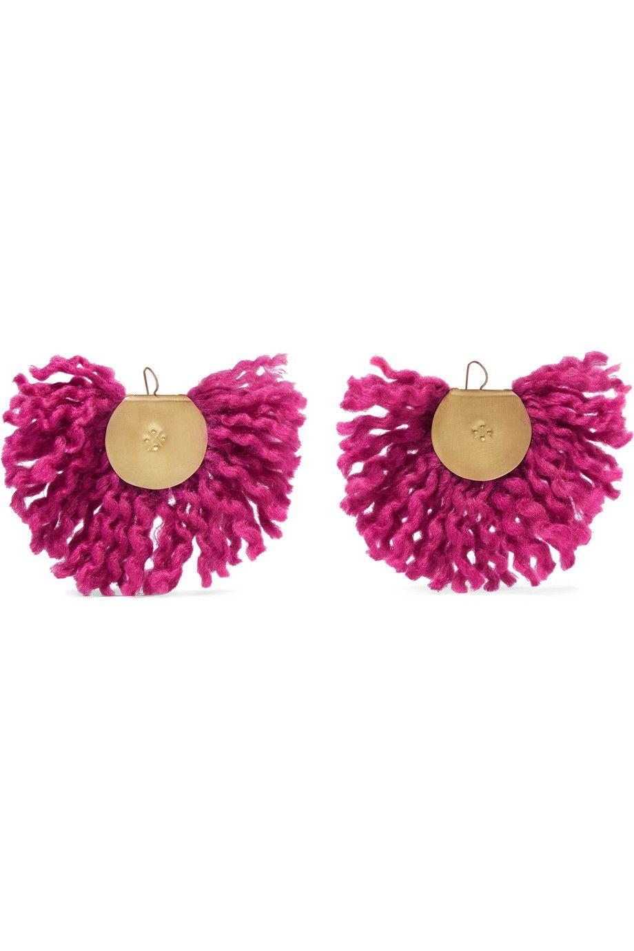 Katerina Makriyianni Fan Fringed Gold-tone Earrings - Pink erX8n8wQm2