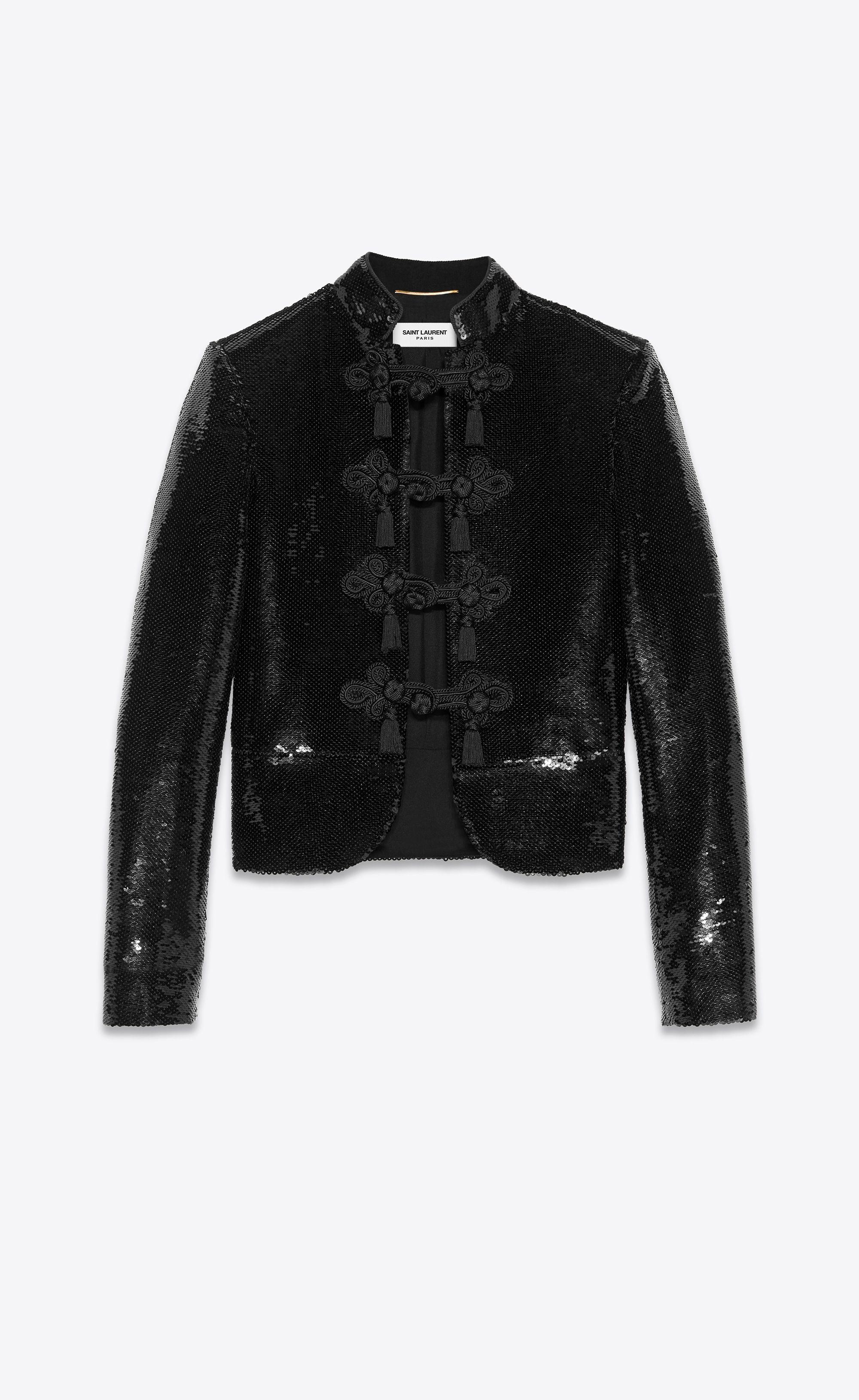 bbf34db9c62 Saint Laurent - All over sequined black jacket ($12,500) | COATS ...