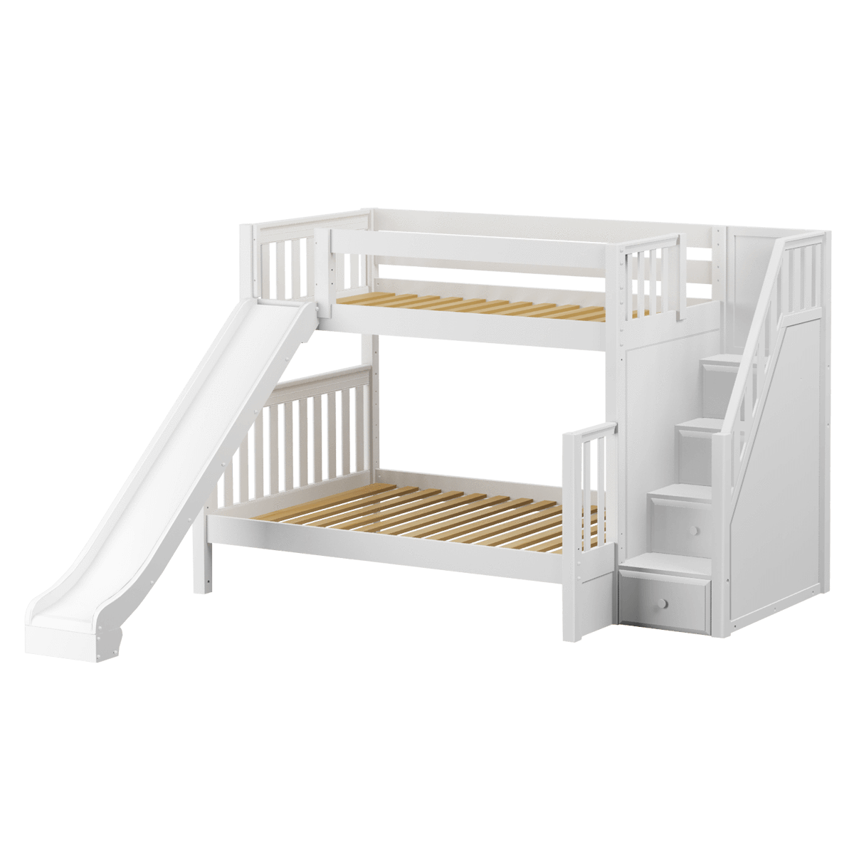 Best Medium Twin Over Full Bunk Bed With Stairs Slide Bunk 400 x 300