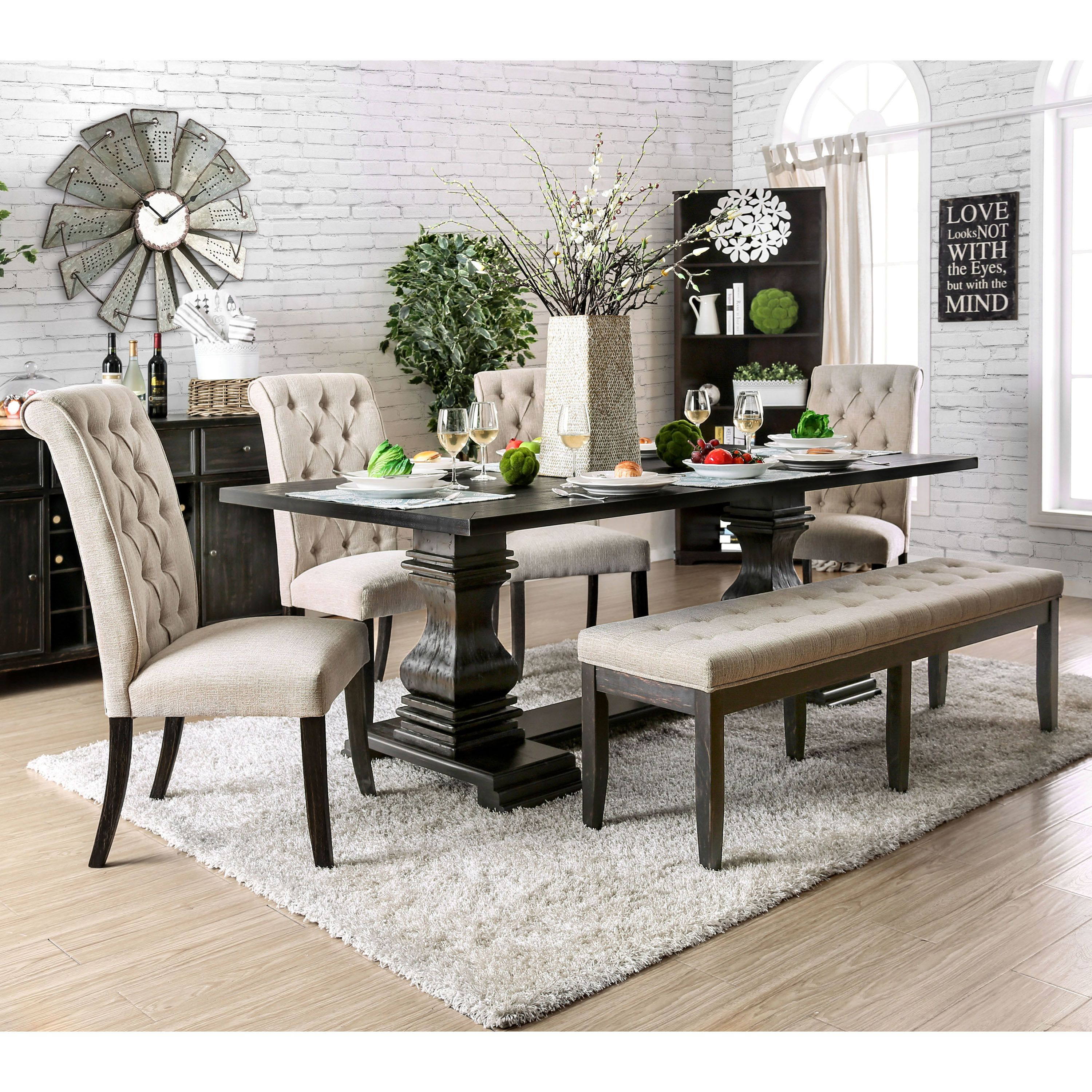 Reagan 84 Inch Traditional Antique Black Dining Table By
