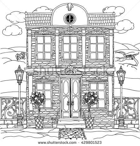 Contoured Black and white illustration of a house with details for adult coloring book or for zen art therapy anti stress drawing. Hand-drawn, vector,very detailed, for coloring, poster design. - stock vector