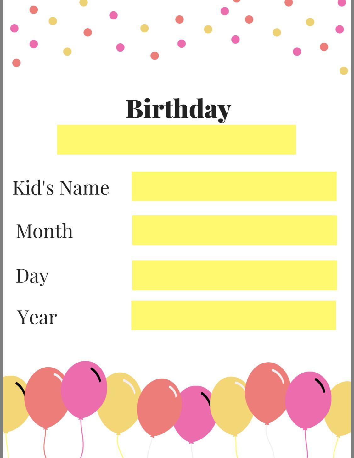 Free Birthday Poster Worksheet