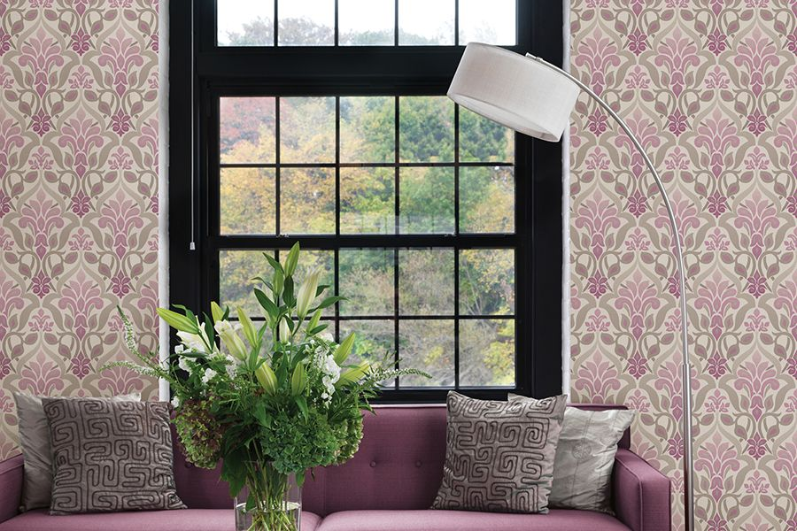 Fusion Purple Ombre Damask Wallpaper Design For Living Room Part 83