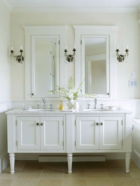 Vintage-Style Bathroom Vanities Add grace and charm to a bath with furniture-inspired vanities. Details such as recessed panels, glass knobs, and turned legs all contribute vintage appeal to the double vanity. Clean, bright whites used throughout the bathroom are traditional without being fussy. Love this. So classy!!.