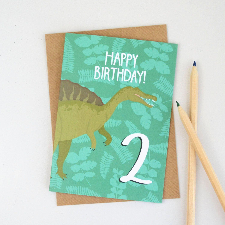Age Two Birthday Card Dinosaur Age Card Childrens Birthday Card