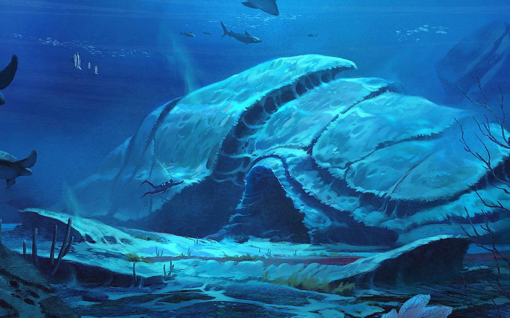 Download Wallpaper Underwater Sea Art Diver Free Desktop Wallpaper In The Resolution 1680x1050 Picture Underwater City Underwater Art Underwater World
