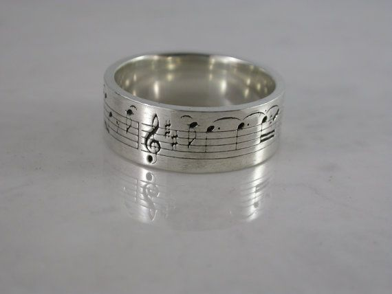 Musik-Hinweis-Ring (Sterling-Silber, Bronze, Edelstahl) (Wide - 7mm ...