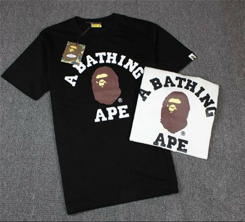 Mens BAPE A BATHING APE T-shirts Crew Neck Tee Shirt Short Sleeve Tops Basic TEE