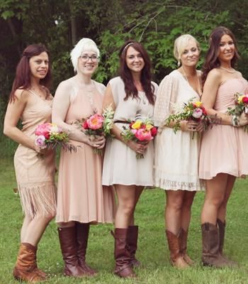 Bohemian Style Bridesmaid Dresses Complete With Cowboy Boots