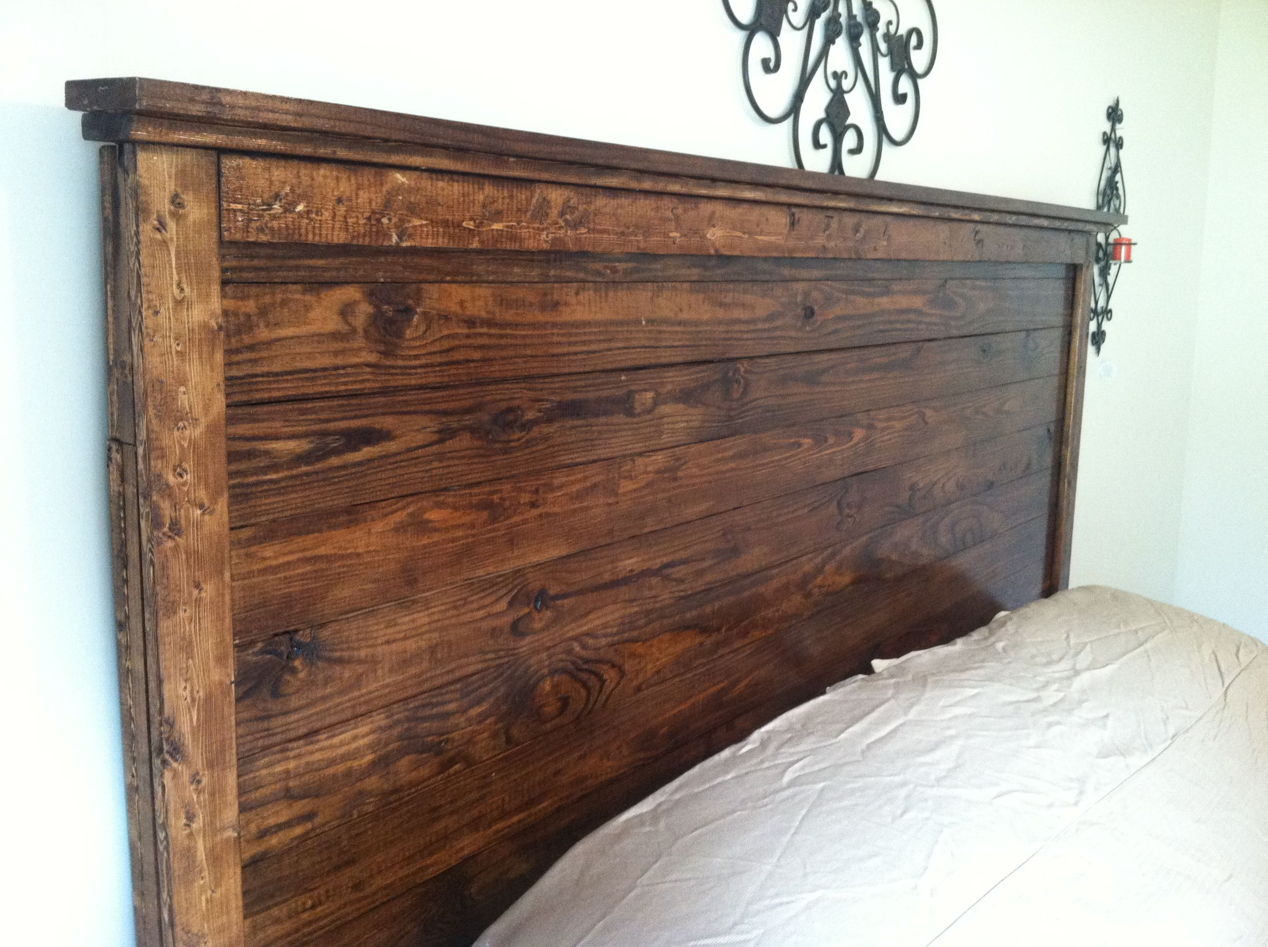 Gorgeous Wood Headboard For King Size Bed Farmhouse Style Stained Distressed