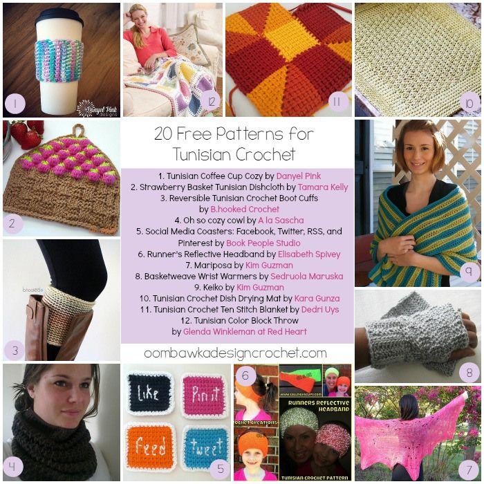 20 Free Patterns for Tunisian Crochet | Bordes de ganchillo y Ganchillo
