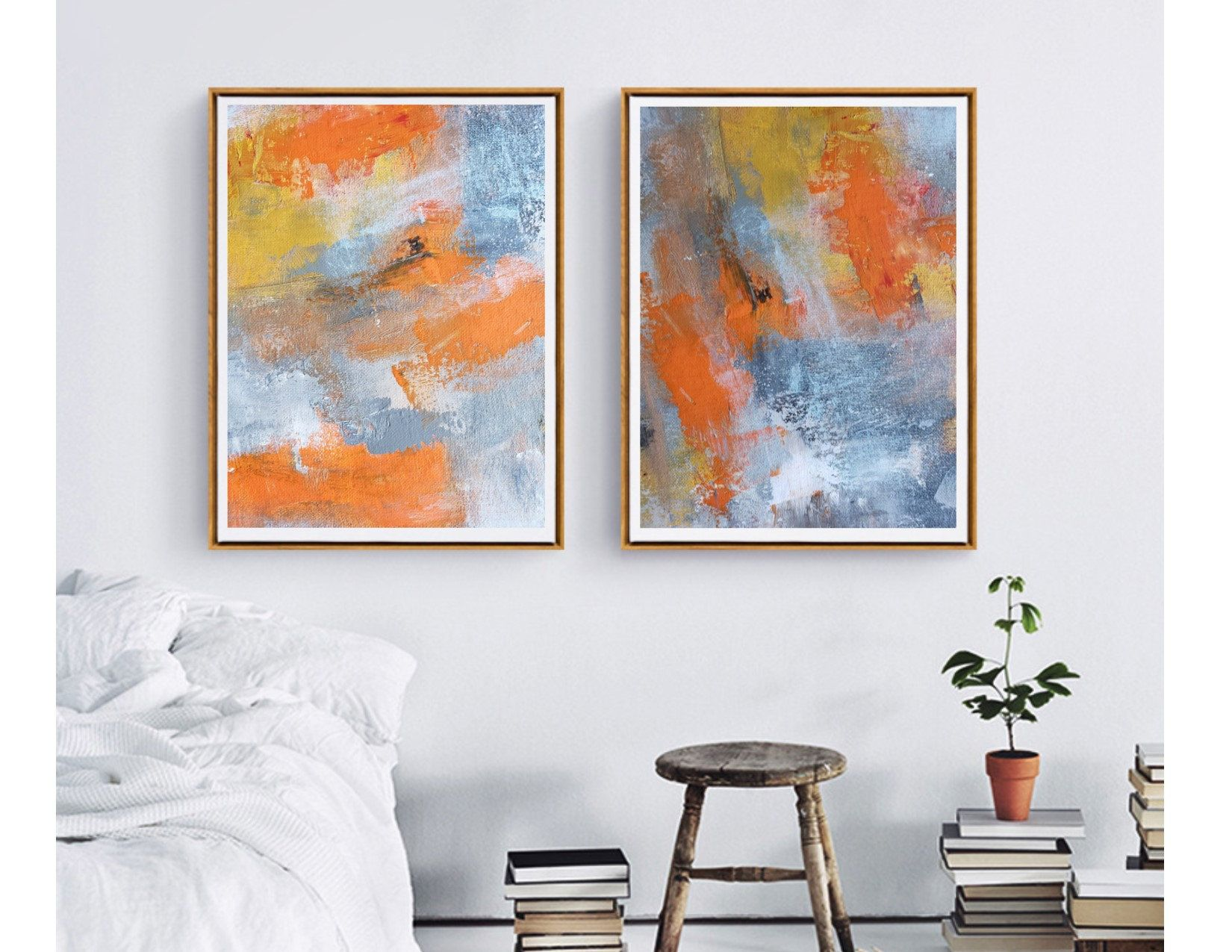 Diptych Set Of 2 Wall Art Paper Prints Fall Colors Artwork Etsy Diptych Wall Art Family Room Wall Art Etsy Wall Art