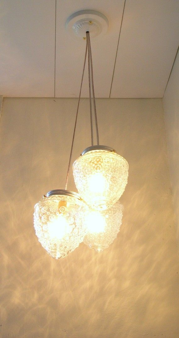 Clear Glass Globes Raspberry Chandelier - UpCycled Hanging Pendant Lighting Fixture $100 #light #upcycled