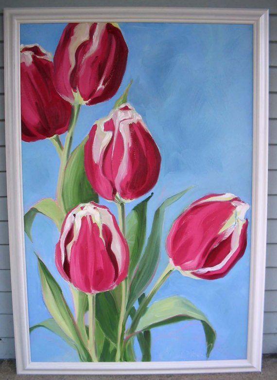 tulips Paintings / Skilderye Pinterest Peinture fleurs
