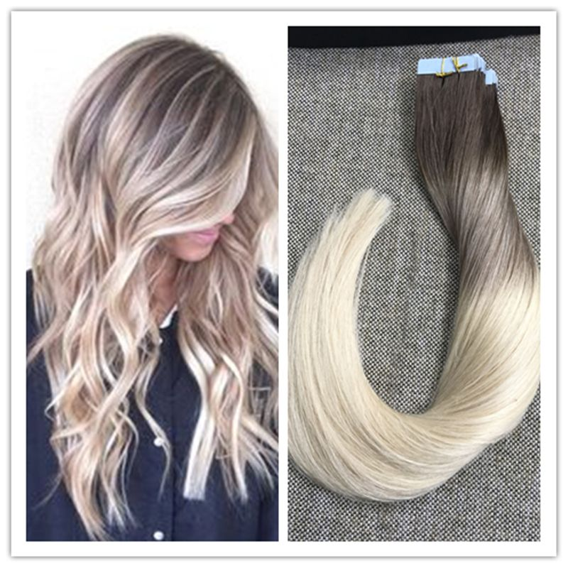 Full Shine Balayage Tape In Hair Extensions Blonde Ombre Balayage
