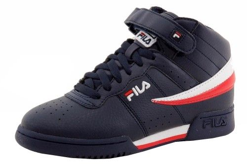 b3a95512a06c Fila Boy s F-13 Navy White Red Leather Mid-Top Basketball Sneakers Shoes  Sz  7
