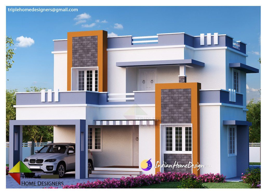 1987sqft3bedroomcontemporaryindianhomedesign 1024x751 Jpg 1024 751 Indian Home Design House Siding Cost Modern House Design