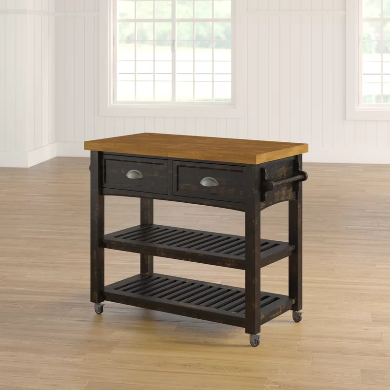 Addington Kitchen Cart With Wood Top Solid Wood Dining Table Kitchen Island With Drawers Wood Dining Table