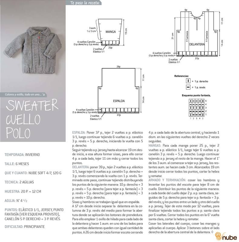 Sweater cuello polo bebé | Crafty | Pinterest | Polo bebé, Cuello ...