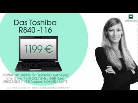 Notebookcampus: Facebookseite, Gewinnspiel und Werbeclips.  NotebookCampus 'Toshiba R840 Gewinnspiel' Film für Universitäten
