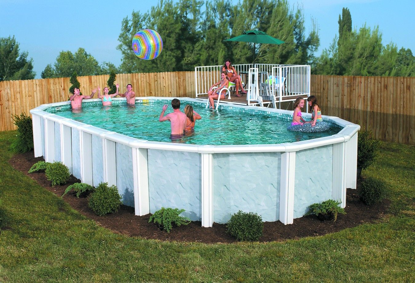 Idea for above ground pool landscaping successful for Large swimming pool designs